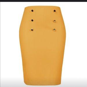 Yellow office bodycon skirt